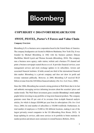 Bloomberg Sample- Swot, Pestel, Porter'S 5 Forces And regarding Merrill Lynch Business Plan Template