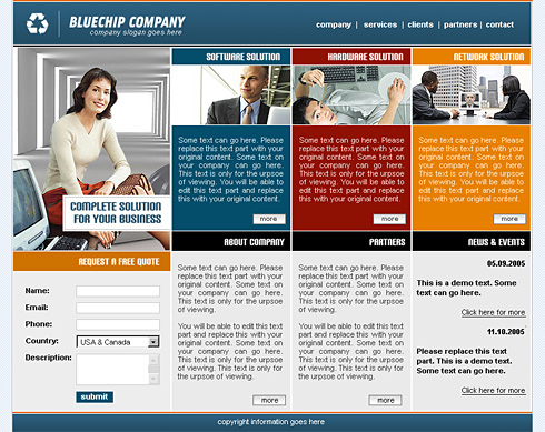 Blue Chip Css Template - 0419 - Clean & Corporate intended for Template For Business Website Free Download