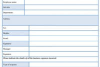Business Expense Form Template – Sample Forms within Quality Business Requirements Definition Template