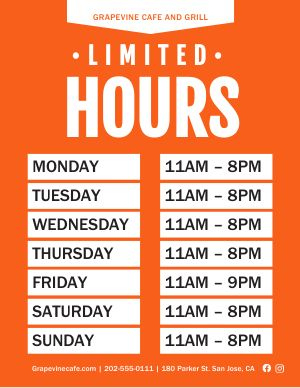 Business Hours Flyer Templates - Musthavemenus inside New Printable Business Hours Sign Template