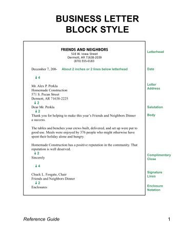 Business Letter Block Style in How To Write A Formal Business Letter Template
