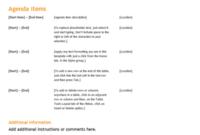 Business Meeting Agenda (Orange Design) with Agenda Template For Client Visit