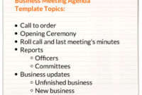 Business Meeting Agenda Templates in Board Of Directors Agenda Template