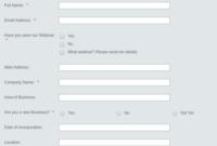 Business Online Questionnaire Form Template | Jotform throughout Business Account Application Form Template