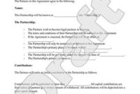 Business Partnership Agreement with regard to Unique Partner Business Plan Template