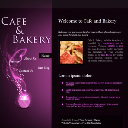Cafe Bakery Free Website Templates In Css, Html, Js Format throughout Online Store Business Plan Template