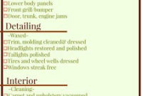 Car Detailing Checklist Graphic Printable with Best Business Reply Mail Template