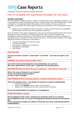 Case Report Template - Cnbam for Quality Template For Business Case Presentation