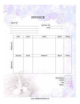 Cat Invoice regarding Business Card Template Open Office