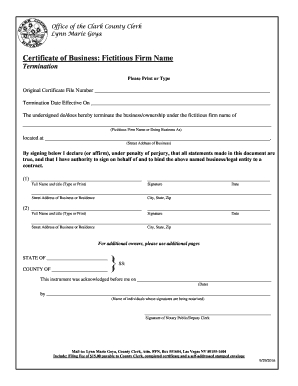 Clark County Fictitious Firm Name - Fill Out And Sign for Best Business Plan Template Law Firm