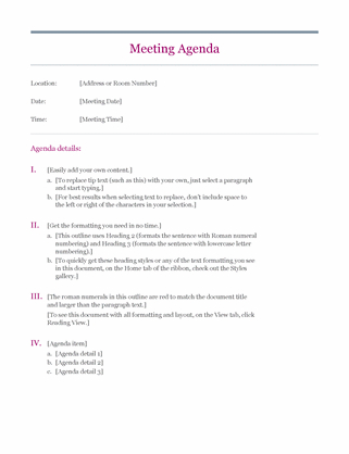 Classic Meeting Agenda In Agenda And Meeting Minutes Template