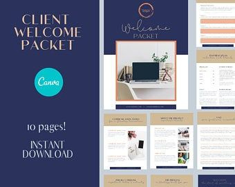 Client Welcome & Goodbye Packet New Client Bundle Canva regarding New Etsy Business Plan Template