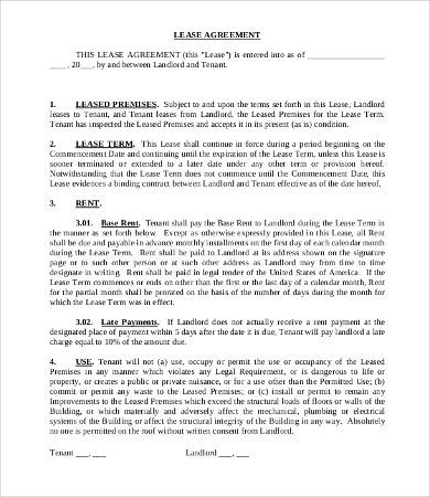 Commercial Tenant Lease Agreement Template , 11+ Simple regarding Business Lease Agreement Template Free