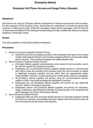 Company Issued Cell Phone Agreement Template | Hq Template in Small Business Policy And Procedures Manual Template