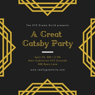 Customize 54+ Great Gatsby Invitations Templates Online for Best Save The Date Business Event Templates