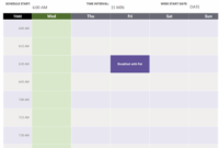 Daily Appointment Calendar (Week View) inside Virtual Meeting Agenda Template