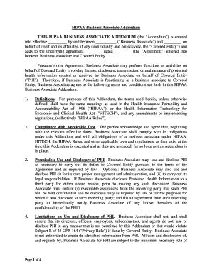 Difference Between Addendum And Amendment - Editable throughout Business Associate Agreement Hipaa Template