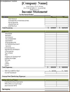 Download The Income Statement Template From Vertex42 with regard to Financial Statement Template For Small Business