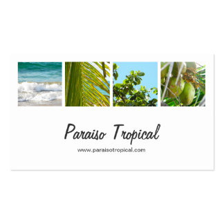 Elegant White Tropical Photo Collage Double-Sided Standard regarding Free Business Card Templates For Photographers