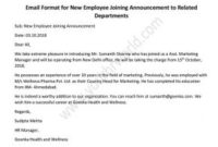 Email Format For New Employee Joining Announcement To regarding New Business Introduction Email Template