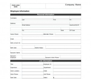 Employee Information Form   Employee Information Sheet regarding New Personal Training Business Plan Template Free