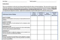 Employee Review Template | Performance Evaluation with How To Put Together A Business Plan Template