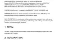 Employment Contract Sample [10+ Free Templates] – Edit And for Staffing Agency Business Plan Template