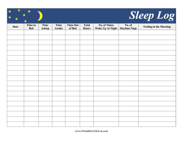 Featuring A Moon And Yellow Stars, This Sleep Log Records throughout Record Label Business Plan Template Free