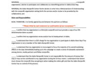 Fillable Memorandum Of Understanding Template Nonprofit within Template For Memorandum Of Understanding In Business