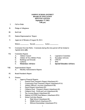 Fillable Online Subcontractor Construction Site Meeting throughout School Board Agenda Template