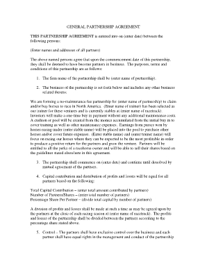 Fillable Things To Consider When Entering Into A Business regarding Partner Business Plan Template