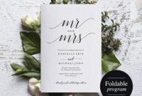 Folded Wedding Program Template, Folded Wedding Program with regard to Wedding Reception Agenda Template