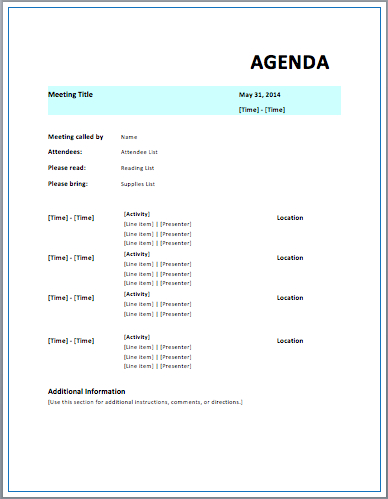 Formal Meeting Agenda Template - Free Template Downloads in Business Meeting Request Template