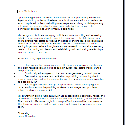 Free 13+ Best Real Estate Agent Cover Letter Examples within Business Plan For Real Estate Agents Template