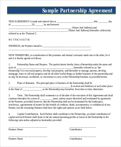 Free 14+ Contract Samples In Pdf   Ms Word   Google Docs in Unique Partner Business Plan Template