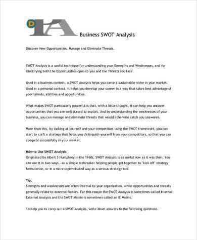 Free 14+ Sample Retail Swot Analysis Templates In Pdf | Ms inside New Business Opportunity Assessment Template