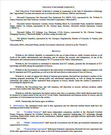 Free 18+ Sample Partnership Agreement Templates In Pdf for Template For Business Partnership Agreement
