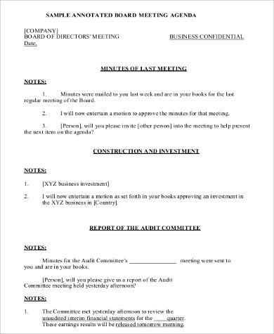 Free 30+ Agenda Format Samples In Ms Word | Pdf in Safety Committee Meeting Agenda Template