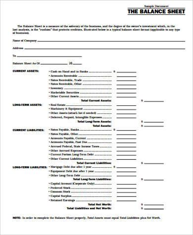 Free 7+ Sample Accounting Balance Sheet Templates In Ms for Business Balance Sheet Template Excel