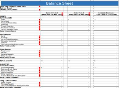 Free 8+ Balance Sheet Forms In Excel | Pdf | Ms Word with Quality Business Plan Balance Sheet Template