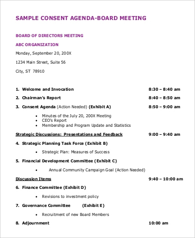 Free 8+ Board Meeting Agenda Samples In Pdf Pertaining To Agenda For A Meeting Template