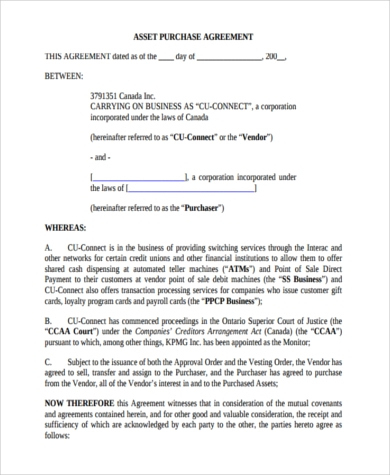 Free 8+ Sample Business Purchase Agreements In Pdf | Ms Word for Sale Of Business Contract Template Free