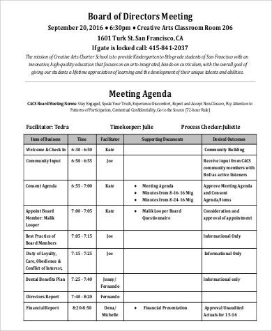 Free 8+ Sample Meeting Agenda Templates In Pdf Inside Agenda For A Meeting Template