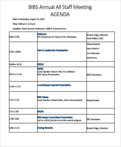 Free 8+ Sample Staff Meeting Agenda Templates In Pdf Intended For Agenda For A Meeting Template