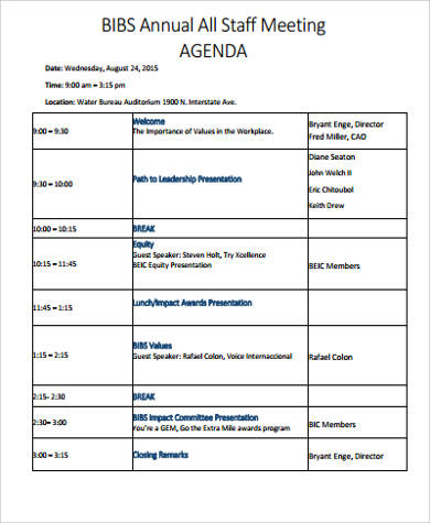 Free 8+ Sample Staff Meeting Agenda Templates In Pdf pertaining to Sample Board Meeting Agenda Template