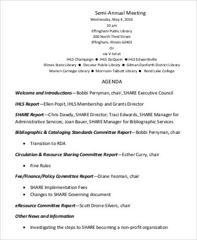 Free 9+ Annual Agenda Samples In Pdf regarding School Board Meeting Agenda Template