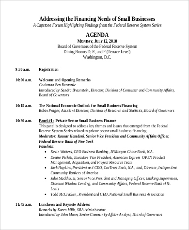 Free 9+ Sample Conference Agenda Templates In Pdf   Ms Word throughout Sample Agenda Template For Board Meeting