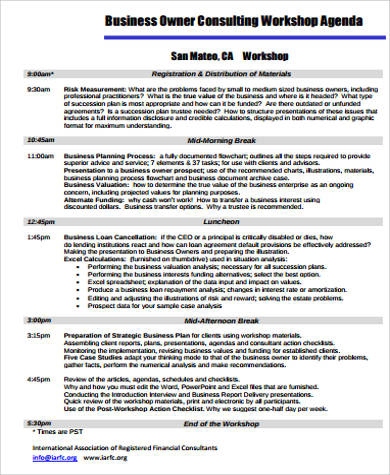 Free 9+ Workshop Agenda Samples In Pdf within New Consulting Business Plan Template Free
