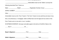 Free Farm Tractor Bill Of Sale Form – Word | Pdf | Eforms for Fresh Free Agriculture Business Plan Template
