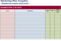 Free Marketing Plan Template | Marketing Plan Template within Business Plan Template For Service Company